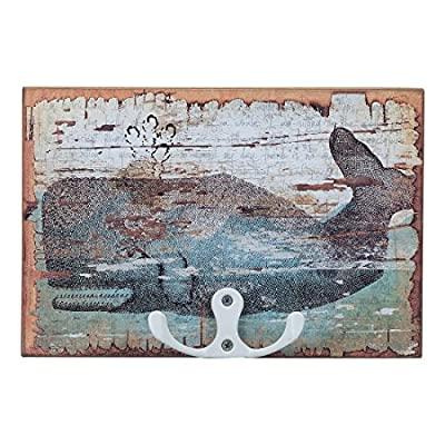 Vintage Whale Print Hook Board for Beach Lake Pool Style Towel Bathing Suit Trunks Coat Robe Hanger 6-in x 4-in
