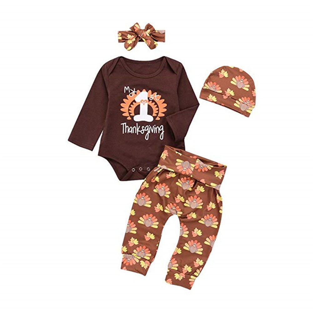 Mikrdoo 4PcsThanksgiving Outfit Baby Romper + Pants + Hat + Headband Clothes Set