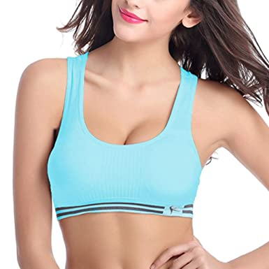 Yuxikong 3Pcs Womens Sports Bra Thin Straps Wirefree ...