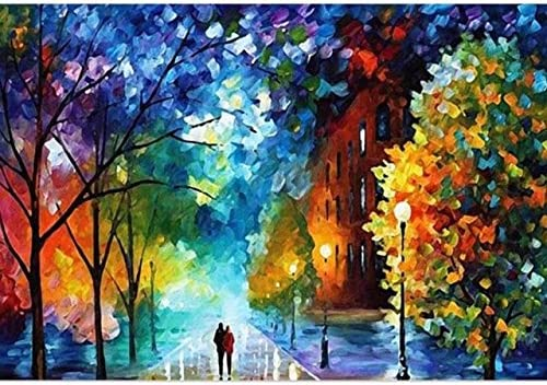 Amazon Com Easy Diy Paint By Number Sets With Brushes Paints On Canvas Nature Landscape Paintworks Unique Christmas Gifts For Adults Beginners Romantic Street Lovers Walks In The 16x20 Inch Frameless