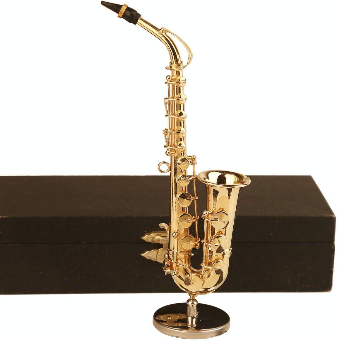 "Dselvgvu Copper Miniature Saxophone with Stand and Case Mini Musical Instrument Miniature Dollhouse Model Mini Alto Saxophone Tenor Saxophone Home Decoration (Alto Saxophone, 6.22""x3.07""x1.12"")"