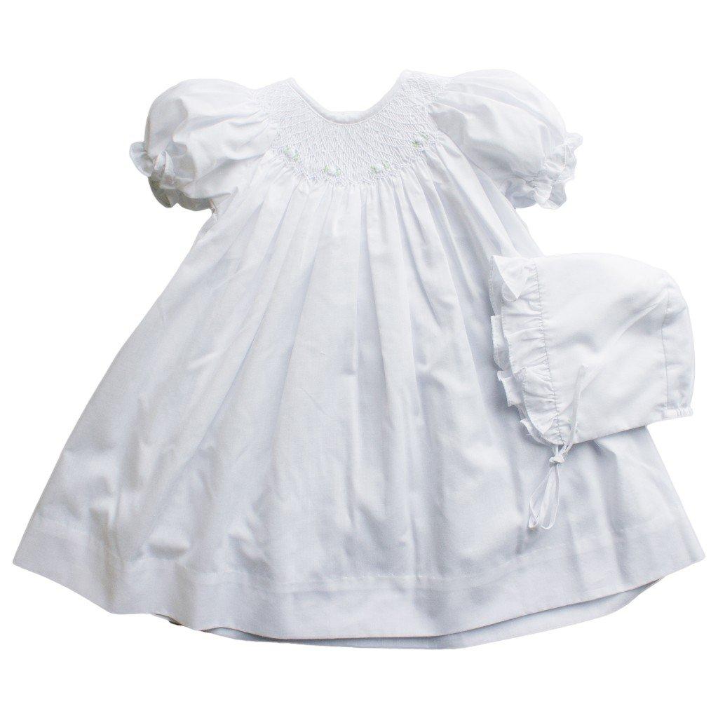 Infant Girls White Smocked Dress & Bonnet Set 3 Months Baby Dresses ...
