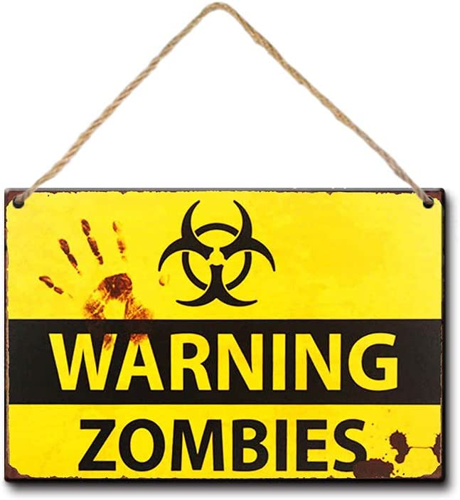 LPLED Shabby Chic Retro Zombie Warning Signs Halloween Posters Outbreak (Y3022)