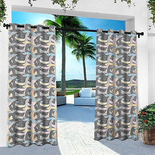 Hengshu Striped, Balcony Curtains,Arch Shapes Curvy Tangled Lines Pattern Modern Geometrical Design in Pastel Colors, W96 x L108 Inch, Multicolor