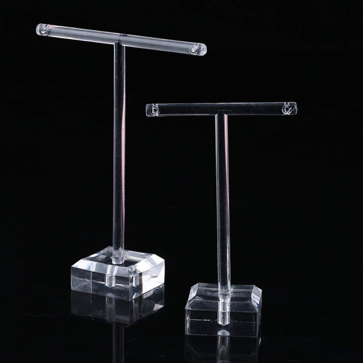 Heraihe 2 Pezzi Trasparente Orecchini di plastica ESPOSITORE T Bar del Basamento del Supporto dell'organizzatore Gioielli Gancio Kit Display Rack