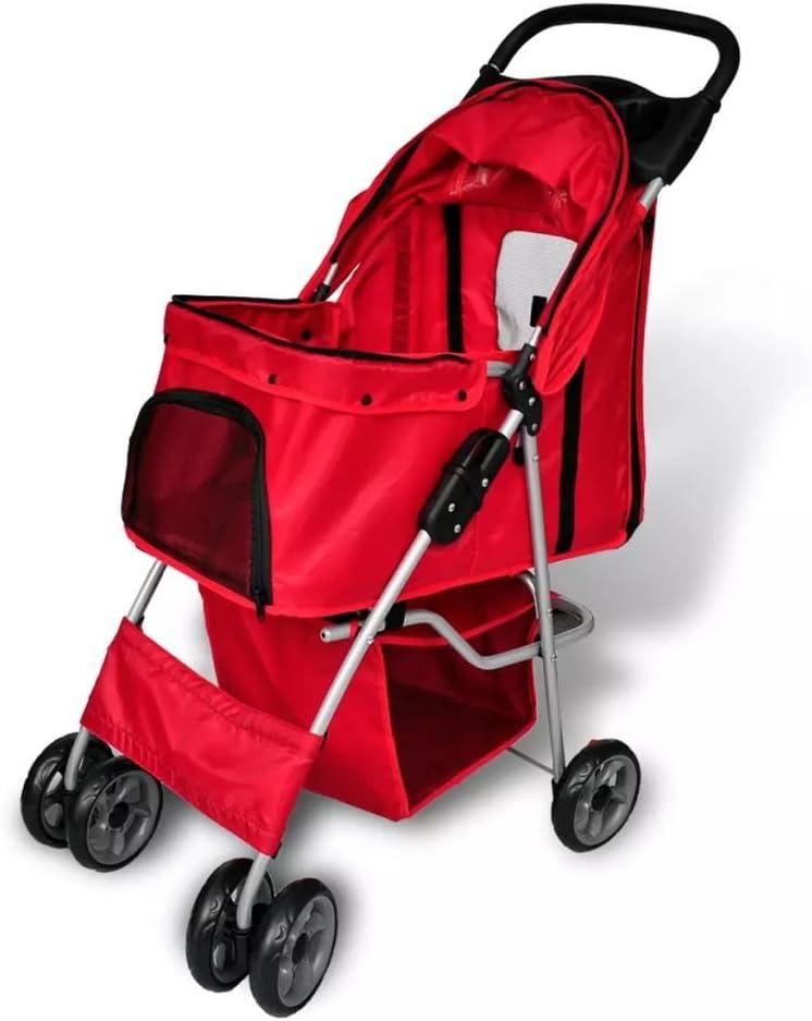 vidaXL Nuevo Cochecito Plegable de Mascota Perro/Gato Color Rojo Trolley Transportador Carrito