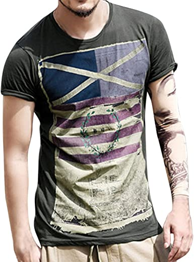 Fashion Mens Casual Short Sleeve O-Neck Printed T-Shirts Independence Day Tops