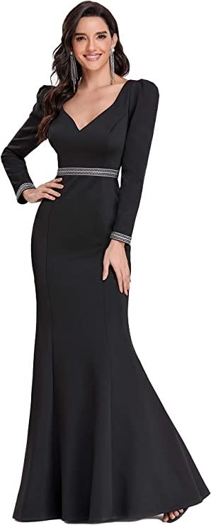 UK 1930s Dresses, Shoes, Clothing in the UK Ever-Pretty Womens Sweetheart Deep V Neck Long Sleeves Empire Waist Bodycon Memaid Floor Length Evening Dresses EM00130  AT vintagedancer.com