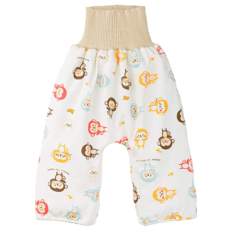 TWONE(トォネ)おねしょ対策ケット ズボン トレーニングパンツ 腹巻付おねしょ 女の子 男の子 防水 通気 天然綿100% 3~5歳くらい