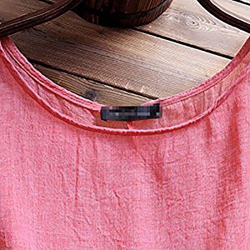 Grande et Rouge Manches Kaki Vert Taille Et Shirt Femme Coton Lin Lache Rouge Carolilly en Courtes T PxHRYY
