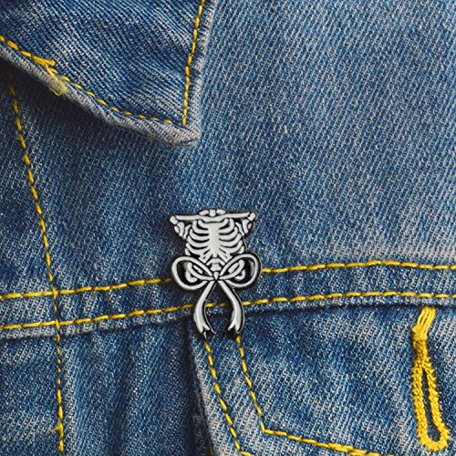 Skeleton Heart Skull Cat Tombstone Light Bulb Science Works Uterus Sternum Brooches Pins,David Bowie Cat by Baolustre (Image #3)