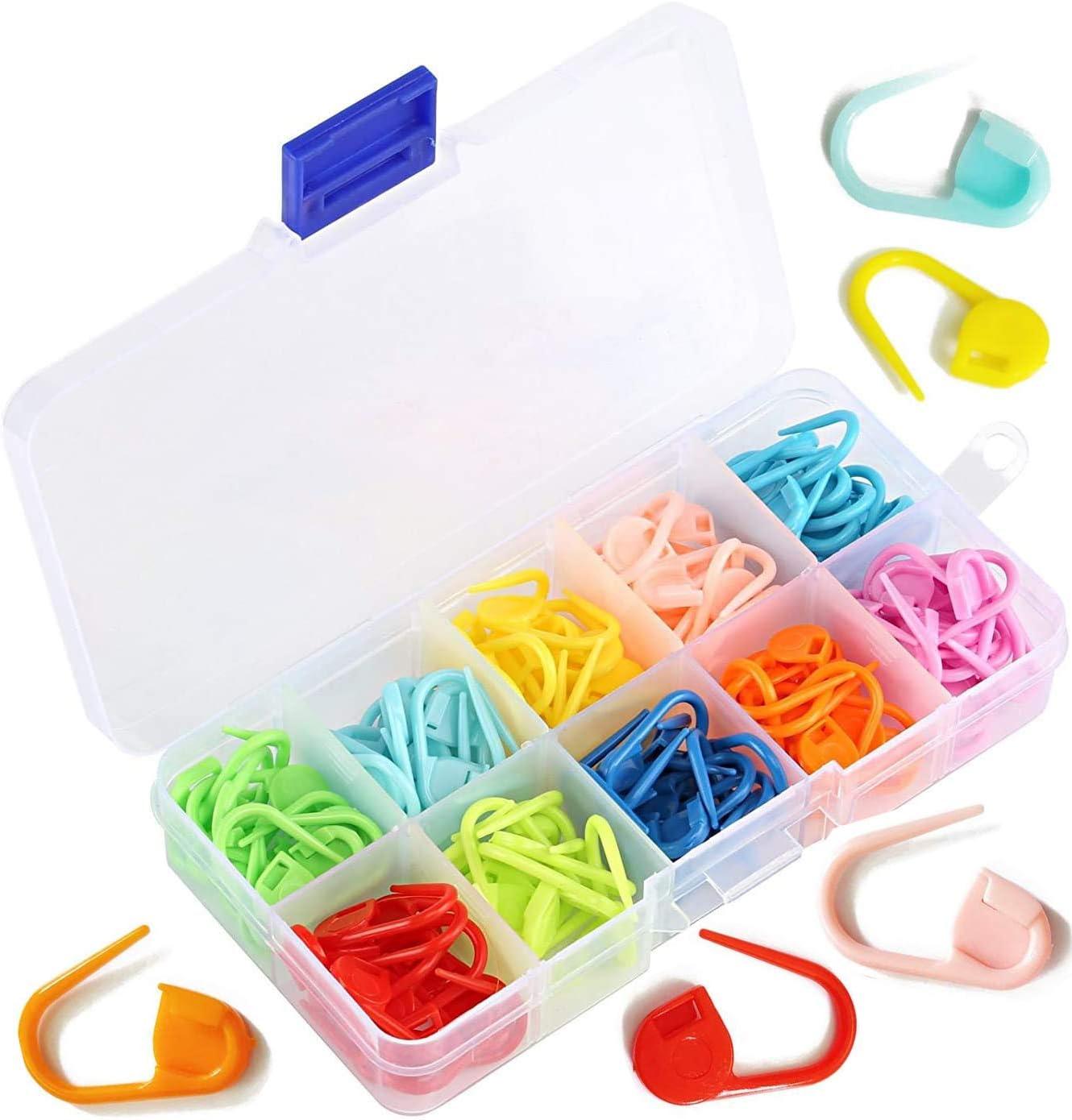 Kshcf Locking Stitch Markers 100 PCS Colorful Multipurpose Stitch Needle Clip,Pack of 100