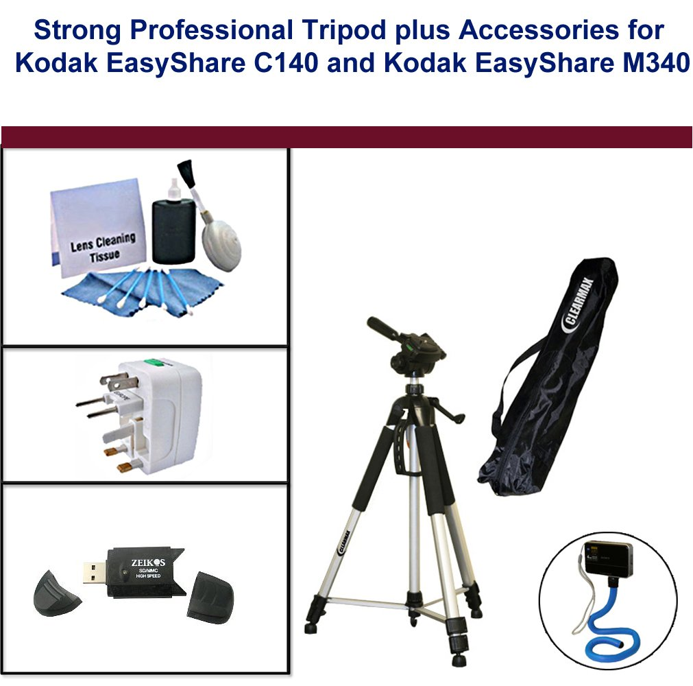 Strong Professional Tripod for Kodak EasyShare C140 and Kodak EasyShare M340 with Flexible Monopod, Universal Adapter, USB FlashCard Reader and 5PC Lens Cleaning Kit