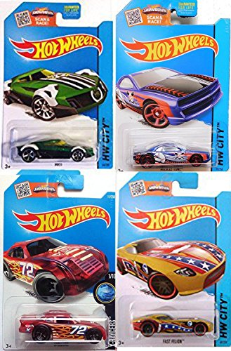 Hot Wheels Treasure Hunt Sports Pack Football Fast Felion HW City All-Stars + Baseball Muscle Tone Blue / Soccer MR11 Green / Stockar Racer Red (Real Ghostbusters Halloween Special)