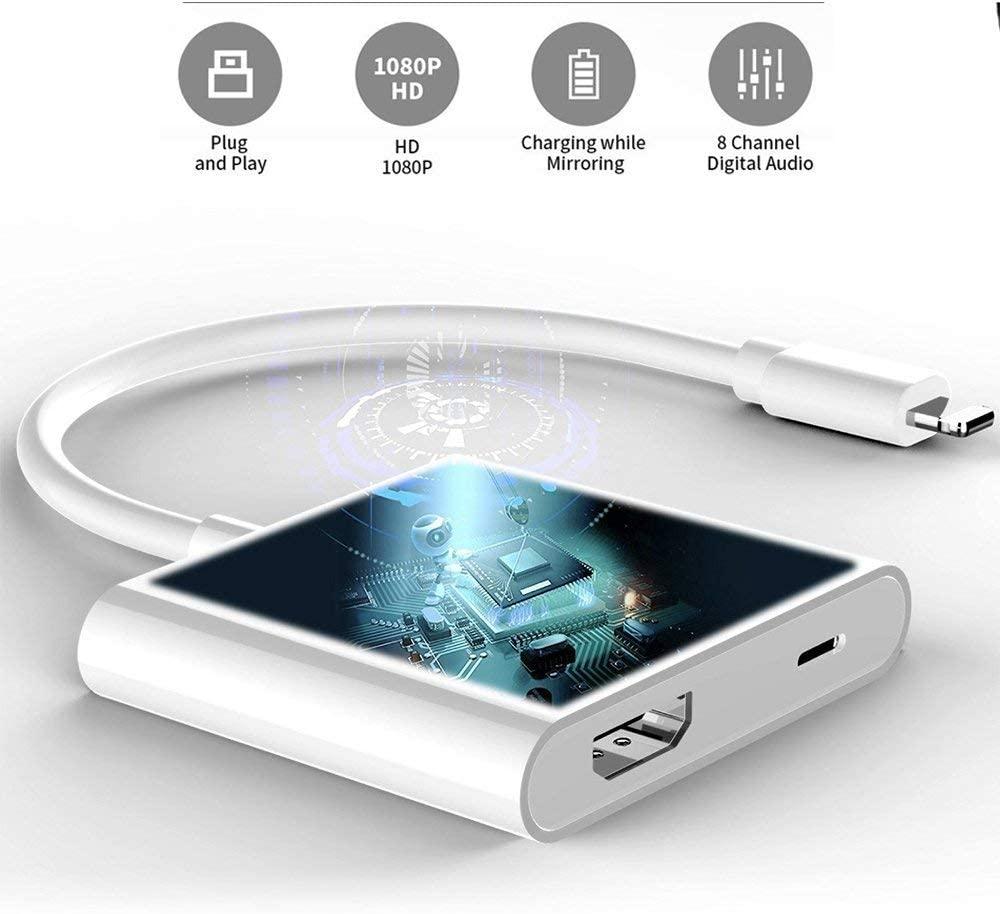 Lightning to HDMI Apple MFi Certified 4K HDMI Sync Screen ...