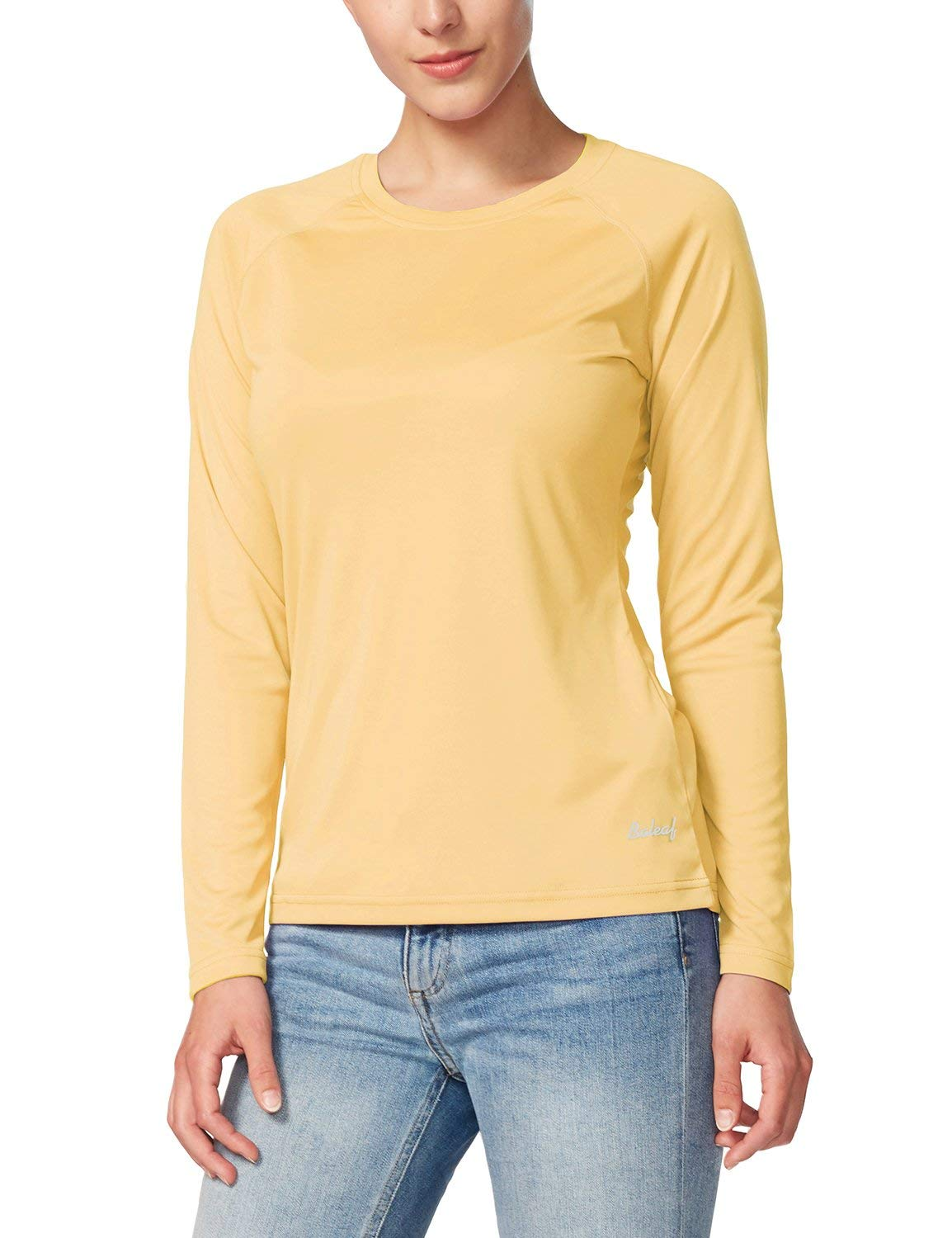 BALEAF Women's UPF 50+ Sun Protection T-Shirt Long Sleeve Outdoor Performance Yellow Size S by BALEAF