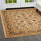 Cheap Home Dynamix Royalty Orion Area Rug | Traditional Living Room Rug | Classic Boarders and Medallion Prints | Persian-Inspired Design | Ivory, Neutral 39″ Round