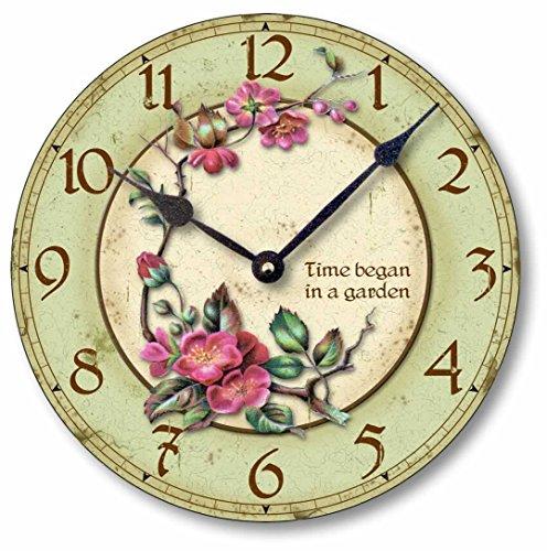 Fairy Freckles Studios Item C7003 Vintage Style 10.5 Inch Time Began in a Garden - Cottage Clock Garden