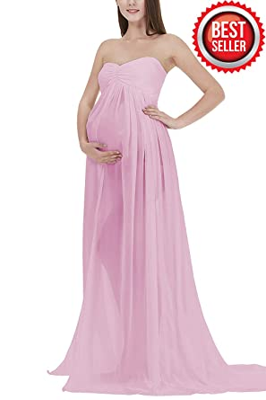 19fbb016eb9 Women s Off Shoulder Strapless Maternity Dress for Photography Split Front  Chiffon Gown for Photoshoot (A