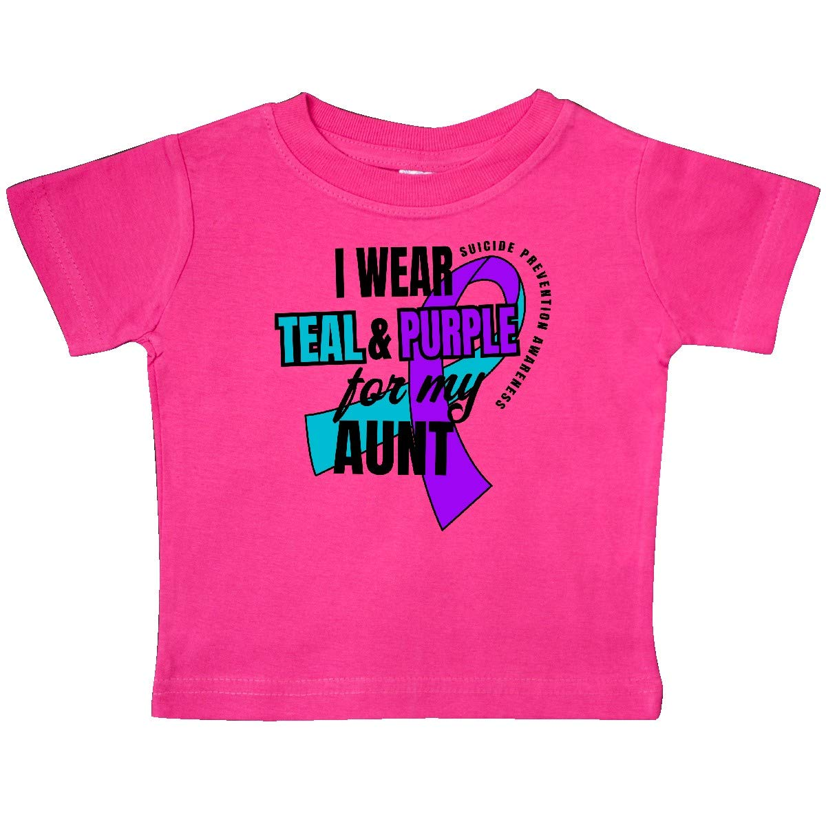 inktastic Suicide Prevention I Wear Teal and Purple for My Aunt Baby T-Shirt