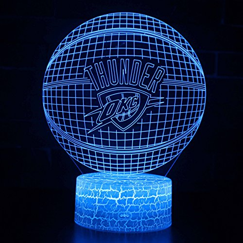 Deal Best LED NBA Team 3D Optical Illusion Smart 7 Colors Night Light Table Lamp with USB Power Cable (Thunder)
