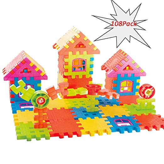 Jellydog Toy Blocks Building, Toy Building 108 Sets, Educational Fun Toy Gift with Storage Bag for Boys & Girls, Playset Gift for Ages 2 yr-8 yr