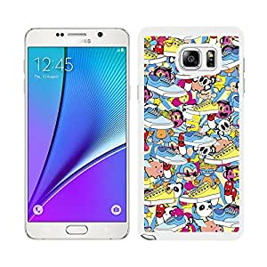Funda carcasa para Samsung Galaxy Note 5 estampado sticker bomb zapatillas borde blanco