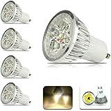 4パック Chrasy 高辉度 4W LED GU10電球 400LM、AC110V ウォームホワイト3000K、60度ビーム角度、調光可能ではありません LED 屋内照明 電球