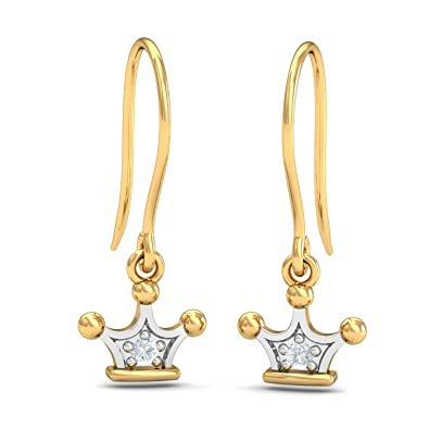 Kuberbox Yellow Gold and Diamond Diana Tiara Stud Earrings Earrings