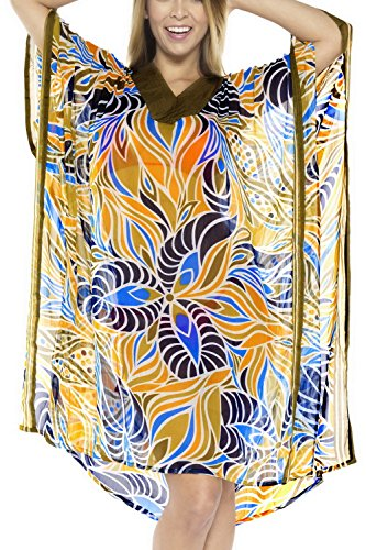 La Leela Bademode verschleiern Badebekleidung der Frauen Tunika Kaftan Badeanzug Badeanzug braun