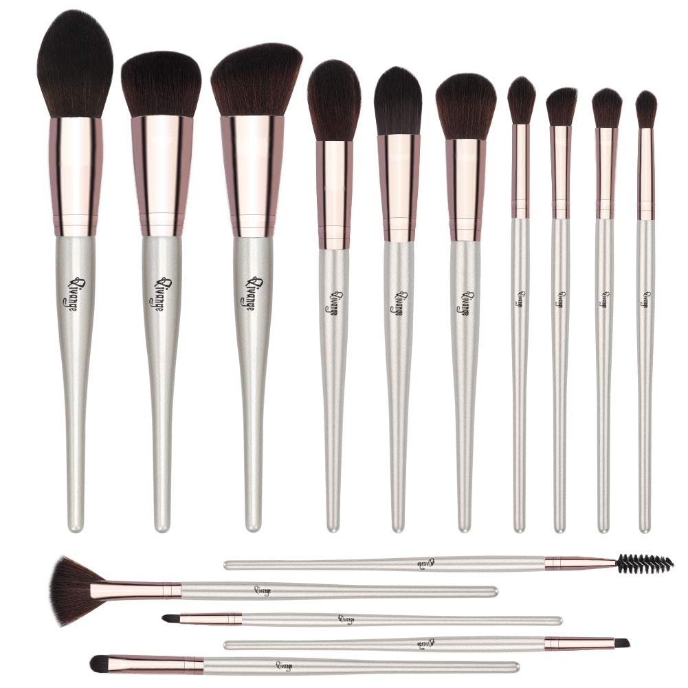 Qivange Makeup Brushes, 15 PCS Professional Belly-type Handle Makeup Brush Set Cream PowderLiquid Foundation Brush with Case for Blending Blush Concealer Eye Face Eyeshadow Lip (Sliver)