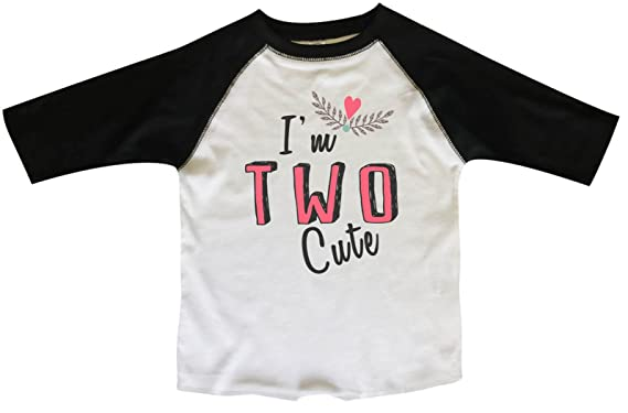 Amazon Funny Threadz Girls 2nd Birthday Raglan 3 4 Sleeves Im Two Cute Bday Toddler Youth Baseball Tee Clothing