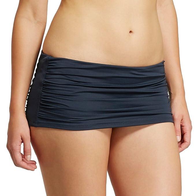 a8a08e0a1c Amazon.com  Masked Brand Mossimo Women s Shirred Skirt Bikini Bottom ...