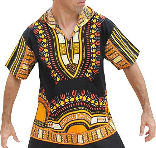 Raan Pah Muang Brand Thin Bright Dashiki Windbreaker Hoody Short Sleeve