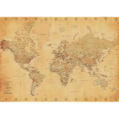 Large world map poster amazon world map antique vintage giant poster 55x39 gumiabroncs Image collections