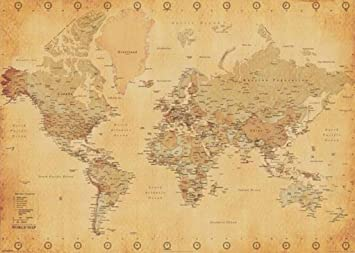 Amazon world map antique vintage giant poster 55x39 giant world map antique vintage giant poster 55x39 gumiabroncs Image collections