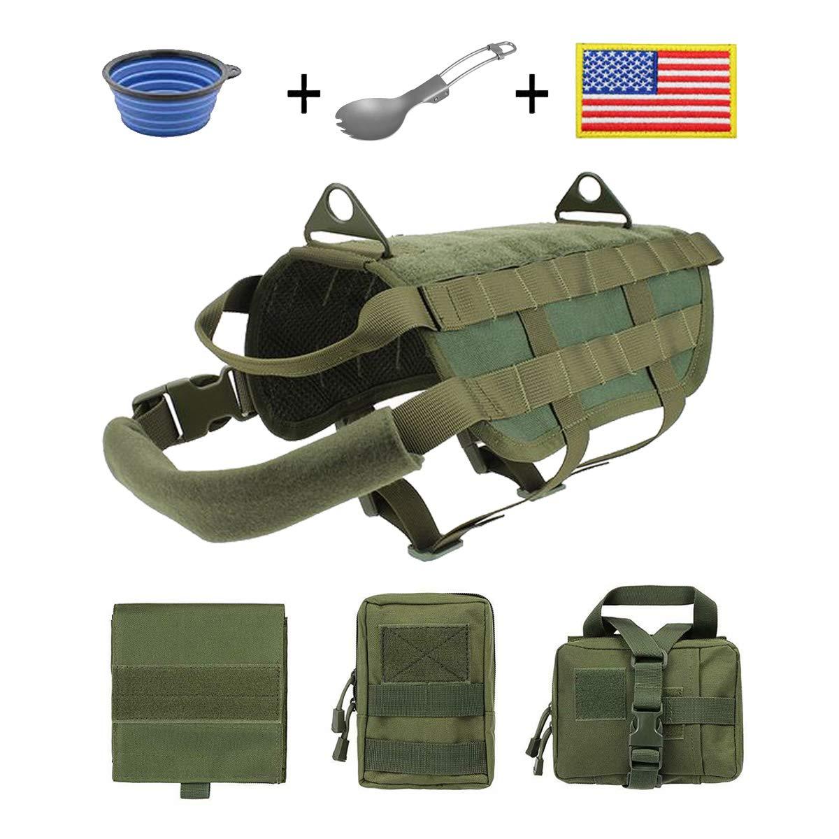 EJG Military Tactical Service Dog Training Vest Molle Dog Harness Camping Hiking Traveling Nylon Adjustable Coat with 3 Detachable Pouches for Medium /& Large Dog