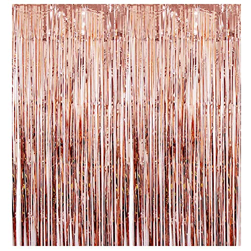 3ft x 8ft Metallic Tinsel Foil Fringe Curtains for Photo Backdrop Birthday Wedding Party Decorations (1 PACK, Rose Gold)