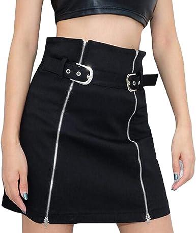 dahuo Falda de Doble Cremallera para Mujer, Cintura Alta, para ...
