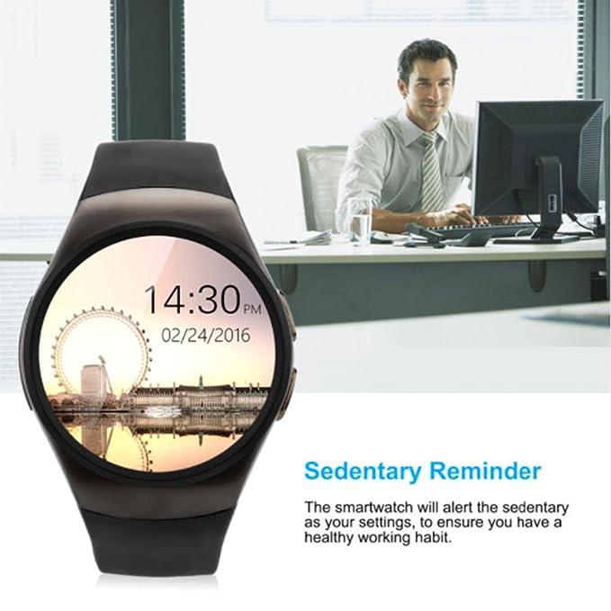 Amazon.com: KW18 Smart Watch Android/IOS SAMRT BANDS Bluetooth Reloj Inteligente SIM Round Heart Rate (BLACK): Cell Phones & Accessories