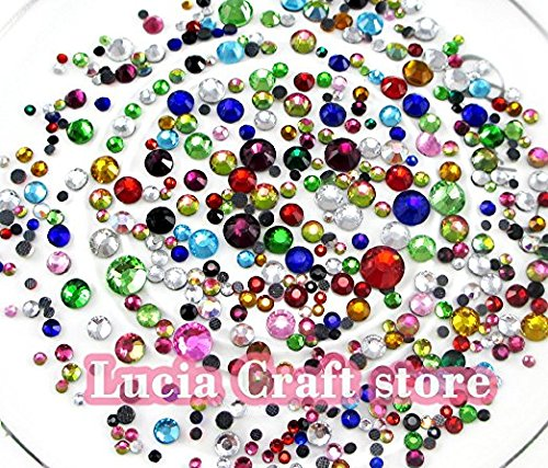 20G Lot 2 6Mm Mixed Colors Glass Flatback Rhinestone Mixed Szes Hot Fix Stones  Mixed Color 1
