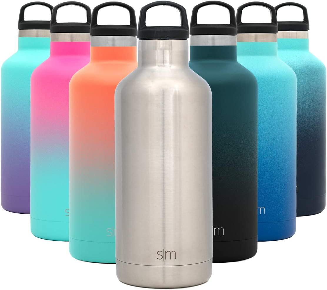 Simple Modern 32oz Ascent Water Bottle - Hydro Vacuum Insulated Tumbler Flask w/Handle Lid - Silver Double Wall Stainless Steel Reusable - Leakproof: -Simple Stainless