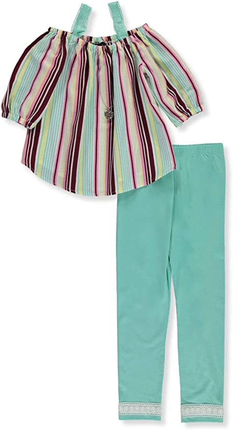 RMLA Girls 2-Piece Leggings Set Outfit with Necklace