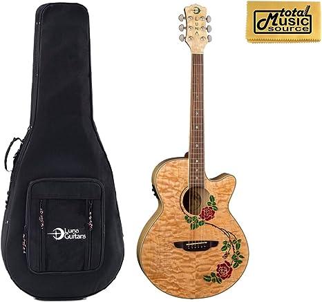 Luna Flora Rosa guitarra acústica/eléctrica, madera de arce ...