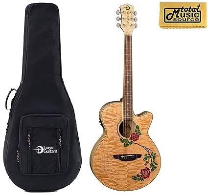 Amazon.com: Luna Flora Rose Guitarra Acústica/eléctrica ...