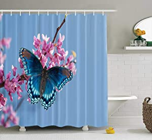 silichee Fabric Shower Curtain,Washable Shower Curtain Colorful Shower Curtain Eastern Tree Blooming with Red Spotted Purple Admiral Butterfly in Morning Sunlight 78X72Inch Decor Curtains for Bathroom