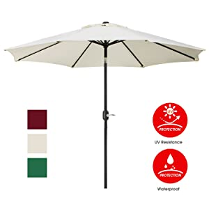 UHINOOS 9 ft Patio Umbrella,Outdoor Umbrella with Crank and 8 Ribs, Polyester Aluminum Alloy Pole Tilt Button Outside Table Umbrella.Fade Resistant Water Proof Patio Table Umbrella(Ivory)