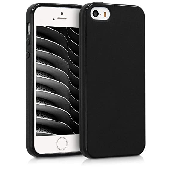 quality design e8c54 040eb kwmobile TPU Silicone Case for Apple iPhone SE / 5 / 5S - Soft Flexible  Shock Absorbent Protective Phone Cover - Black Matte