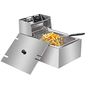 ZOKOP Electric Deep Fryer Stainless Steel with Basket Strainer Filter, 6.3QT/6L Capacity, for Home & Commercial Use, Countertop Kitchen Fryer for Turkey, French Fries, Donuts, 2.5KW 60Hz 110V