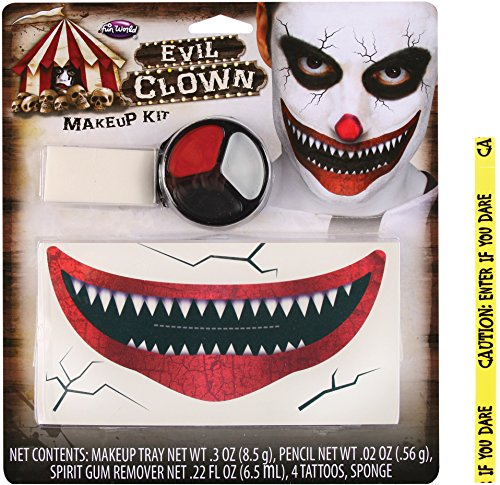 Costume Makeup Killer Clown (Bundle: 2 Items - Killer Clown Makeup Kit and FREE Caution Tape Chosen at)